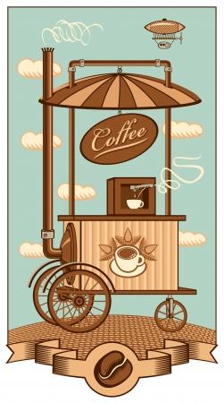 meuleuse: Caf� mobile sous un ciel avec des nuages Illustration