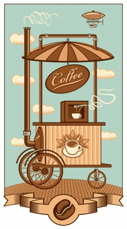 grinder: Mobile coffee shop under a sky with clouds Illustration