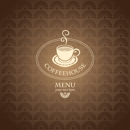 banner with a cup of coffee on a brown background Vector