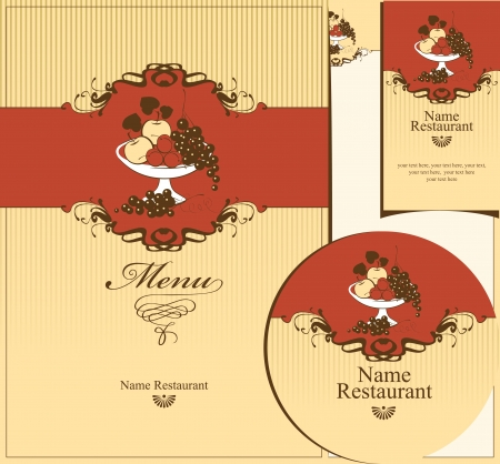 set of design elements for the restaurant. bowl of fruit Vector