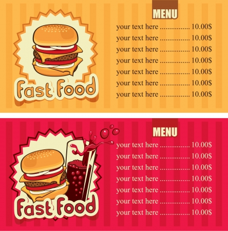 burger and fries: two banners for the fast-food with hamburger and cola
