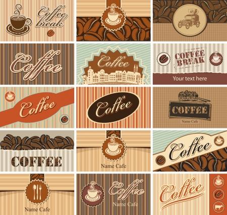 conjunto de tarjetas de visita sobre el tema de té y café