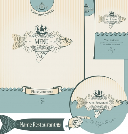 set of elements for the design of the fish restaurants Stock Vector - 14645294