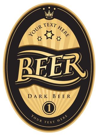 cerveza negra: etiquetas para la cerveza en el color oro negro Vectores