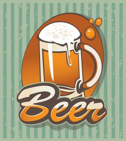 banner with a glass of beer Vector