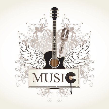 curlicues: banner and wings with a guitar Illustration
