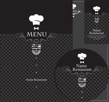 design elements for a restaurant in the black Vector
