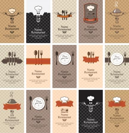 utencilios de cocina: Conjunto de tarjetas de visita en el tema de las bebidas de alimentos Vectores