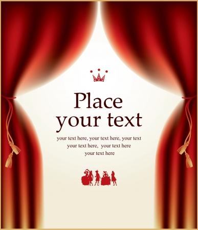 telon de teatro: banner con escenas teatrales, la corona y los actores vestidos con trajes
