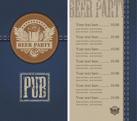 menu for a beer bar on denim Vector