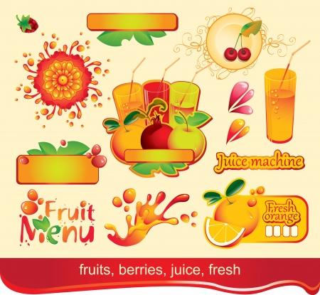 sour cherry: set of design elements on juices, fruit