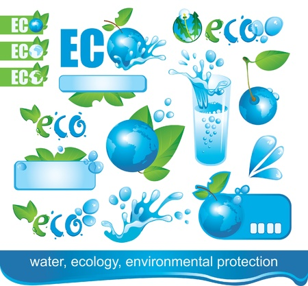 save water: set of design elements on Ecology and the Environment