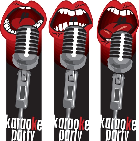 radio microphone: three banners with singing into a microphone mouths