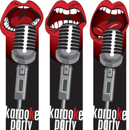 microfono radio: Tres banderas con cantar en un micr�fono de la boca Vectores