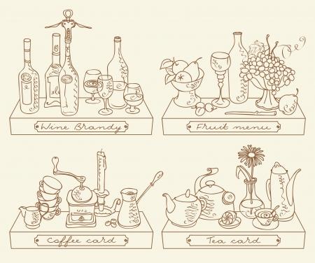 whiskey: Натюрморт с четырьмя различными напитками Иллюстрация