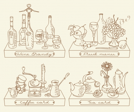 corkscrew: still life with four different drinks Illustration