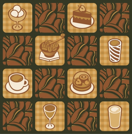 pastry shop: background on the topic of coffee beans Illustration