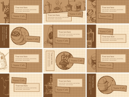 set of cards with drawings on the theme of tea and coffee