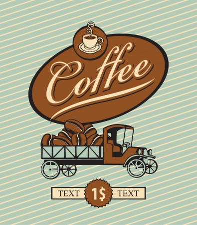 hot cocoa: banner with retro truck and coffee beans Illustration