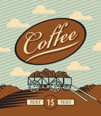 coffee beans: bandera retro con un carrito cargado con granos de caf�