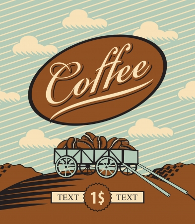 retro banner with a cart loaded with coffee beans  Vector