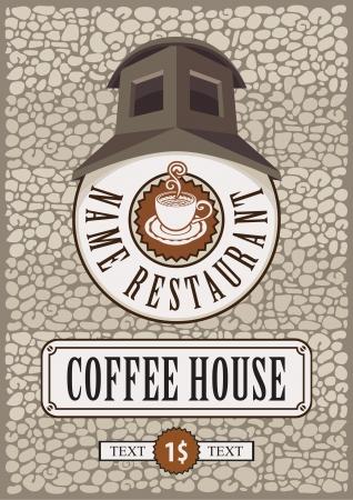 hot chocolate drink: firmar para el caf� con el n�mero de viviendas en la pared de ladrillo Vectores