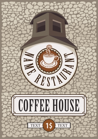 coffee house: sign for the cafe with the number of homes on the brick wall Illustration