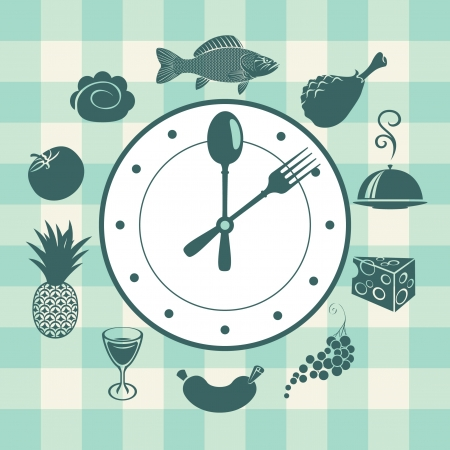 veggie tray: banner with a clock and different dishes Illustration