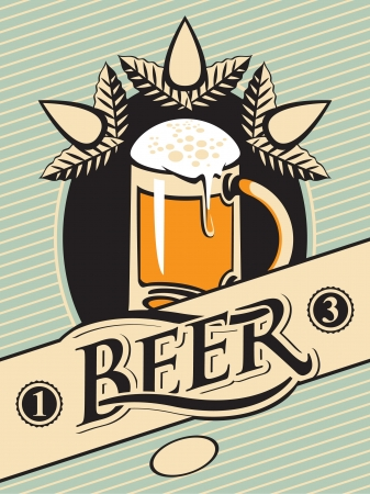 vintage label with a glass of beer Vector