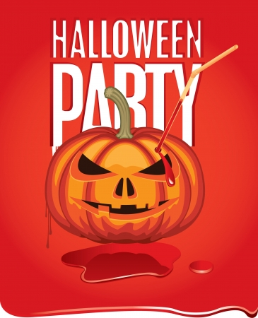 banner for Halloween with a pumpkin in the blood Stock Vector - 14890836