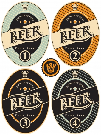 beer label design: four labels for beer in a retro style Illustration