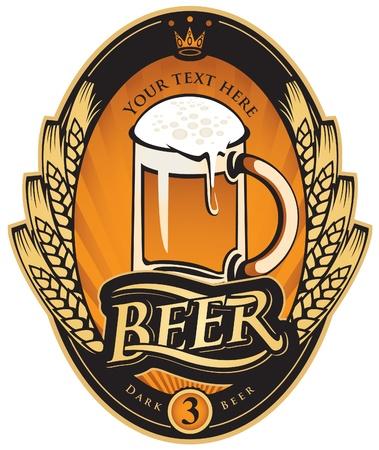vasos de cerveza: etiqueta con un vaso de cerveza y una corona de espigas de trigo