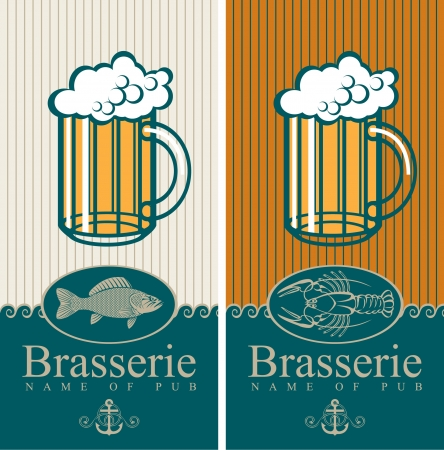 two banners with the beer and seafood Vector