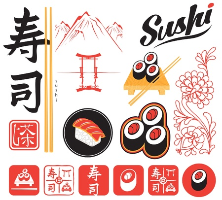 set of design elements for sushi Stock Vector - 14890844