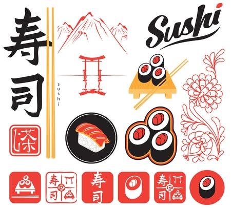 sushi: set van design elementen voor sushi Stock Illustratie