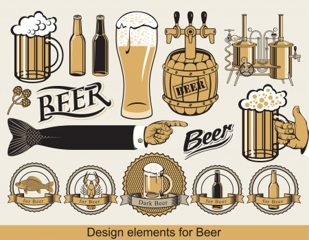 beer label design: set of design elements for beer