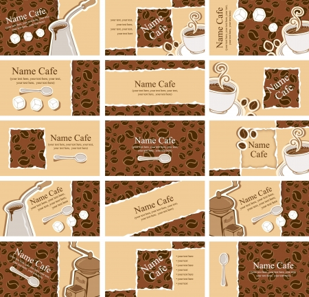 set of business cards on the coffee theme Illustration