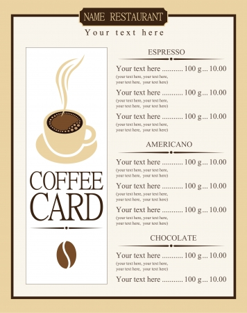 menu list for coffee Vector