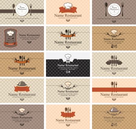 bandeja de comida: Conjunto de tarjetas de visita en los alimentos Vectores