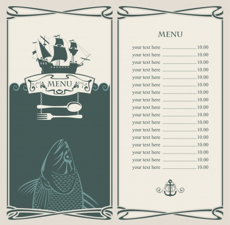 menu vintage: menu with sailboat and a fish in the ocean