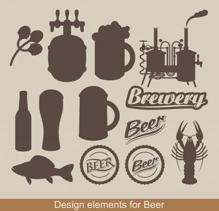 botellas de cerveza: conjunto de elementos de diseño sobre el tema de la cerveza
