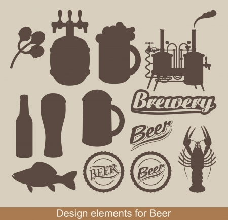 brewery: set of design elements on the subject of beer