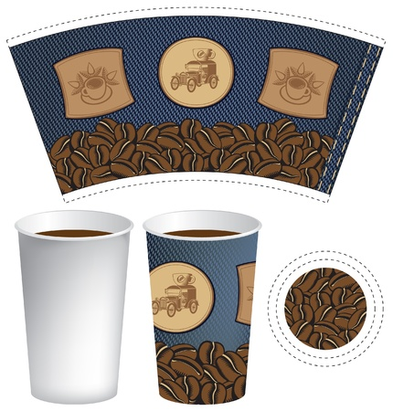 pattern cup of coffee with the texture of denim Stock Vector - 14966596