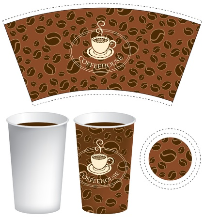 disposable cup: pattern for the cup of coffee with the texture of grains Illustration