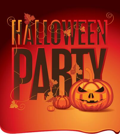 banner for Halloween with pumpkins and leaves on a red background Stock Vector - 15060292