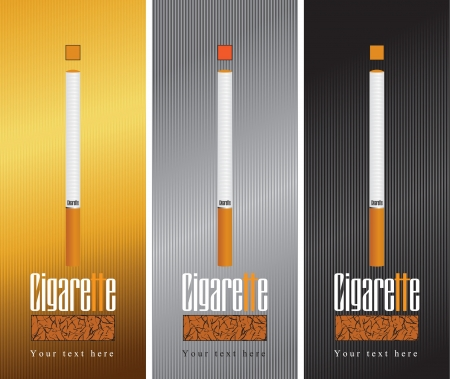 three banners with cigarette Vector
