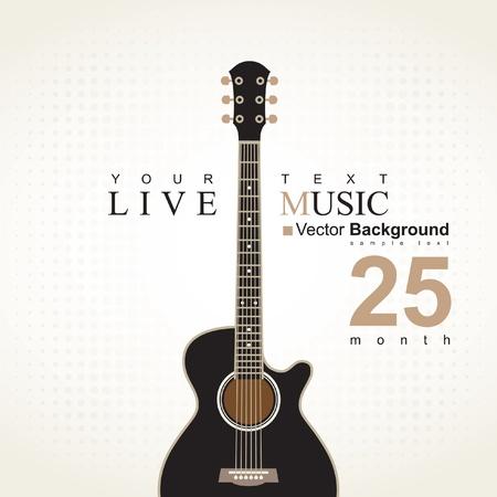 ベージュ色の背景で、アコースティック ギターとバナー