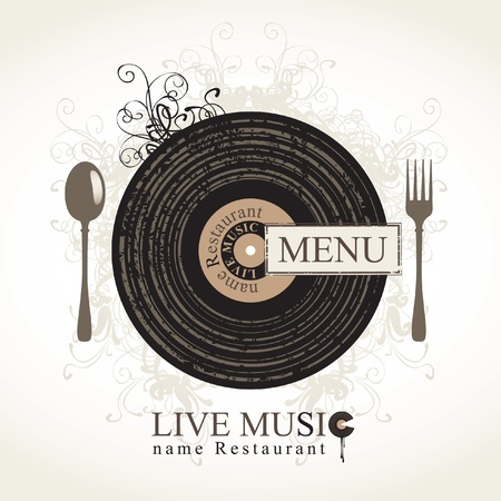 live music: musical cafe menu with cutlery