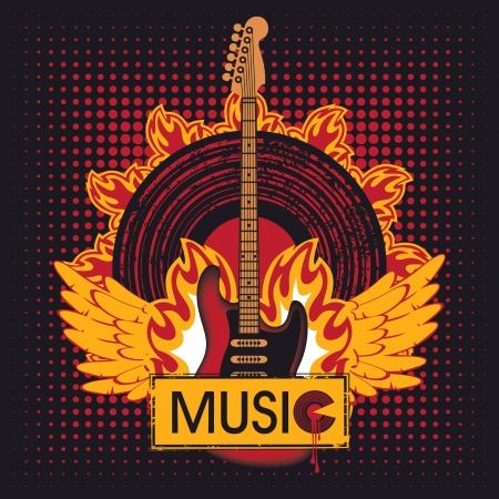 infierno: guitarra el�ctrica con el disco de vinilo en el fuego Vectores