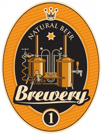 banner met de machine om bier te maken